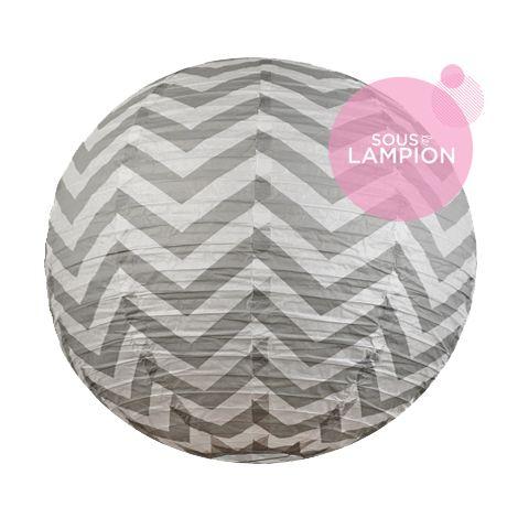 Chevron paper lantern - 66cm - Cumulus grey