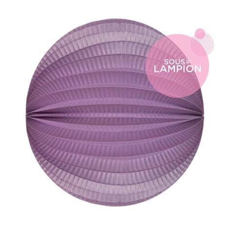 Lampion papier mauve nacré pour un anniversaire ou une chambre d'enfant