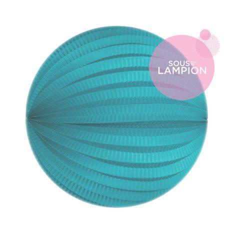 Grand lampion papier turquoise pour un anniversaire d'enfant zero dechet