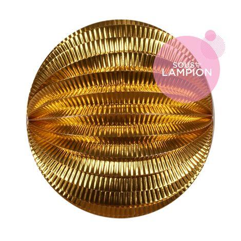Grand lampion papier doré métallisé pour un anniversaire d'enfant zero dechet