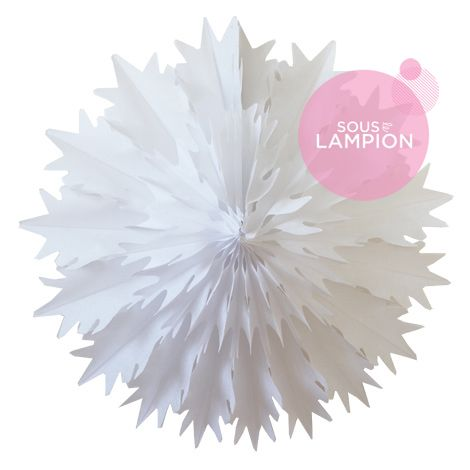 Frosted paper snowflake - 48cm - White