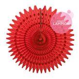 Rosace en papier ajouré rouge pour une déco de mariage : candy bar, buffet champêtre