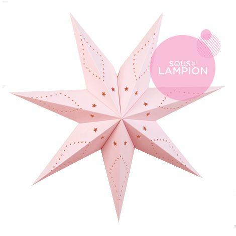 Grande étoile déco de noël en carton rose pâle