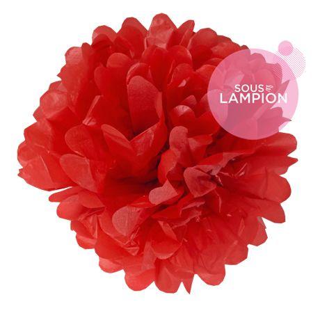 Paper pompom - 40cm - Red poppy