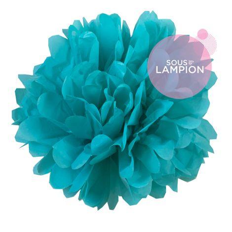 Paper pompom - 25cm - Bora blue