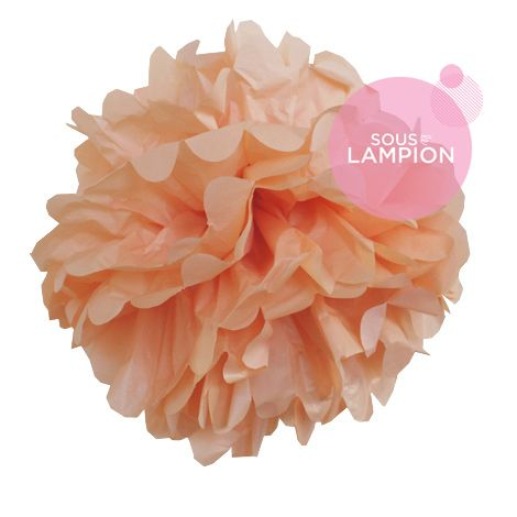 Paper pompom - 40cm - Summer peach