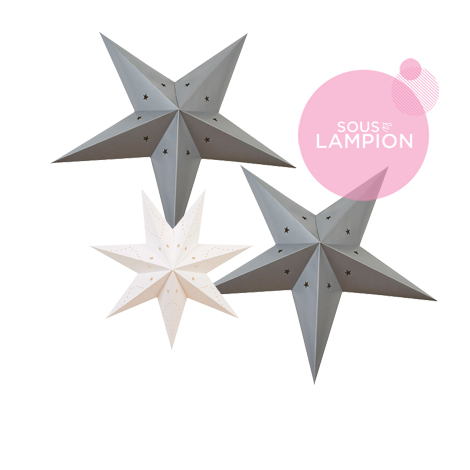 Christmas deco set - 3 stars - White and grey