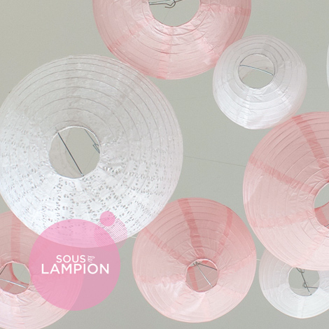 Mariage romantique - rose et blanc - lot de 12 lanternes