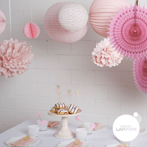 Pink party - set of 9 decorations