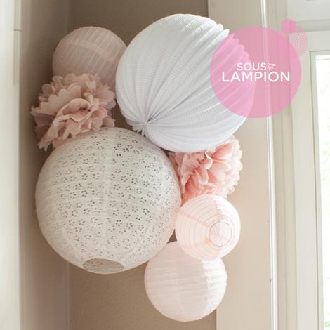 Kit de lampions rose et blanc pour décoration de chambre de fille ou bébé