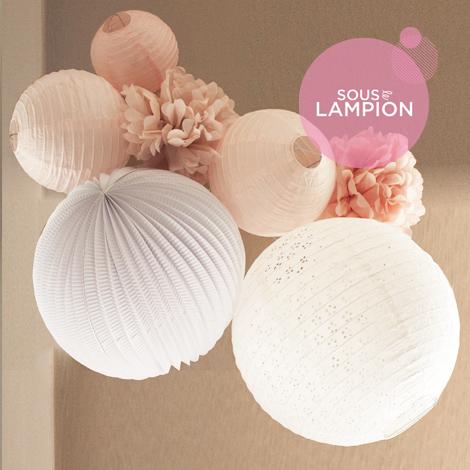 kit de lampions rose et blanc pour chambre de fille ou bébé