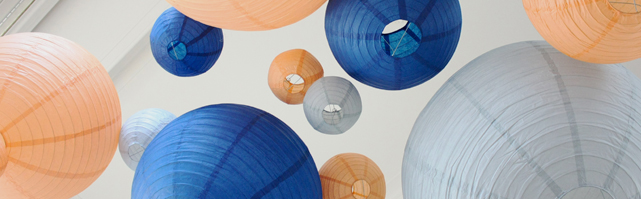 Blue and peach wedding paper lanterns decor