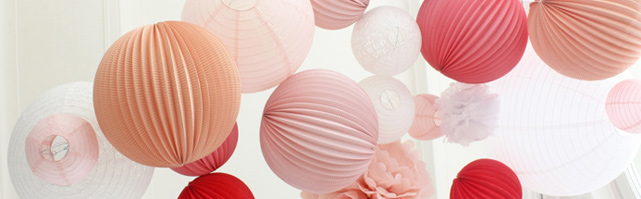 Light pink and white paper lanterns wedding decor
