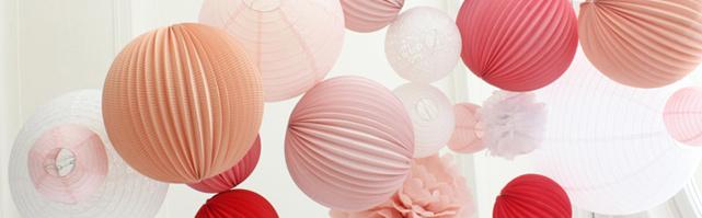 Light pink and white paper lanterns wedding decor