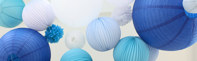 Blue palette wedding decor with paper lanterns