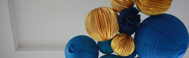 Gold and blue paper lanterns decor