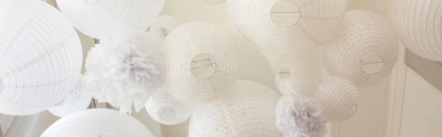White paper lanterns sky