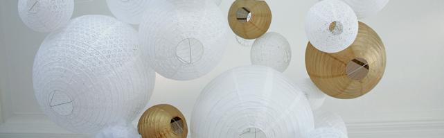 Ciel de lanternes blanc et or