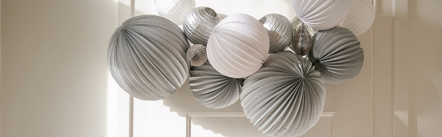 White and grey paper lantern garland for the Holiday
