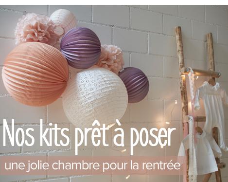 lampions et boules en papier pour décorer une chambre d'enfants