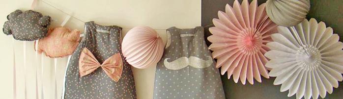 idée déco chambre fille rosace rose et grise