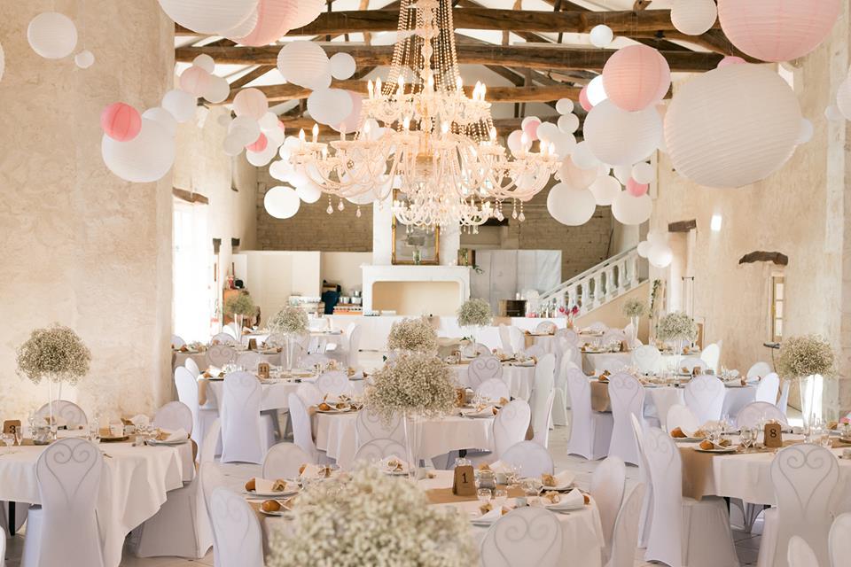 Lanterne mariage: ciel rose et blanc