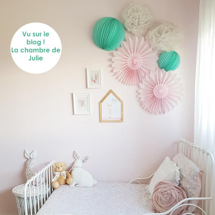 Déco chambre de fille menthe et rose pastel