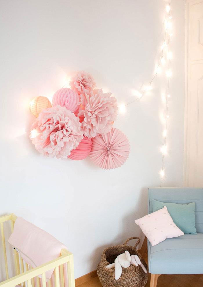 decoration chambre bebe rose et blanc