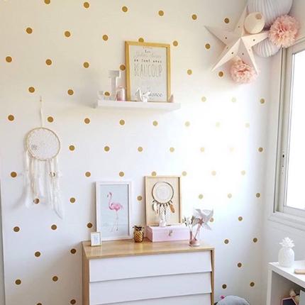 Décoration de chambre style scandinave blanche, rose et gold