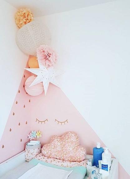 décoration chambre de bébé mur rose et lampions
