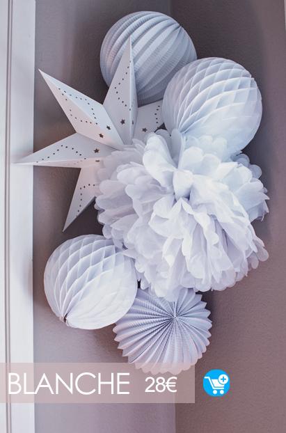 kit de lampions et étoiles en blanc pour décoration monochrome