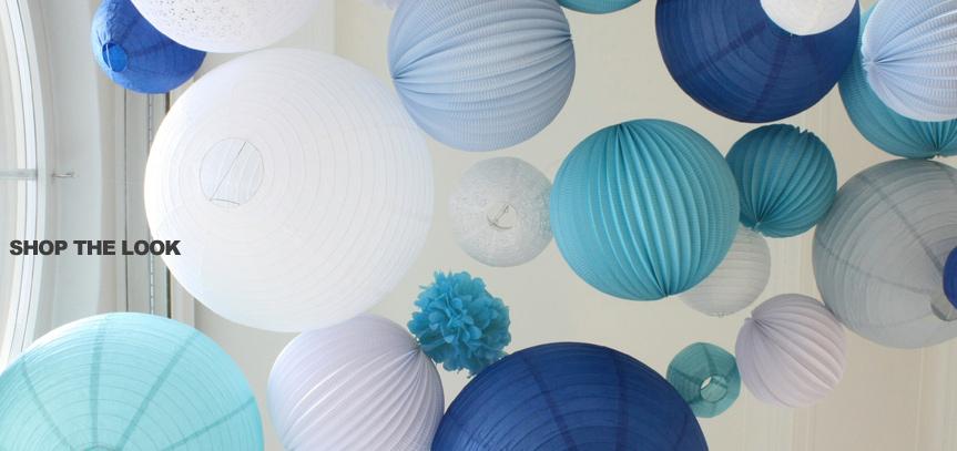lanternes bleu et blanc pour mariage