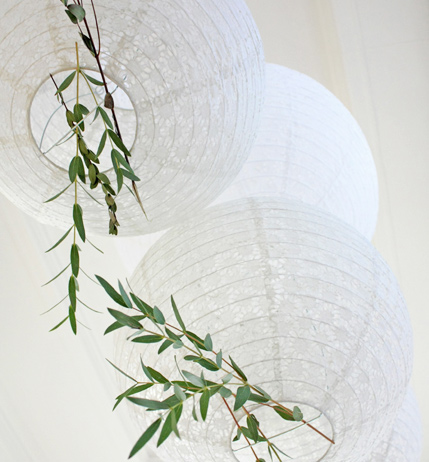 white lace paper lanterns for wedding decoration