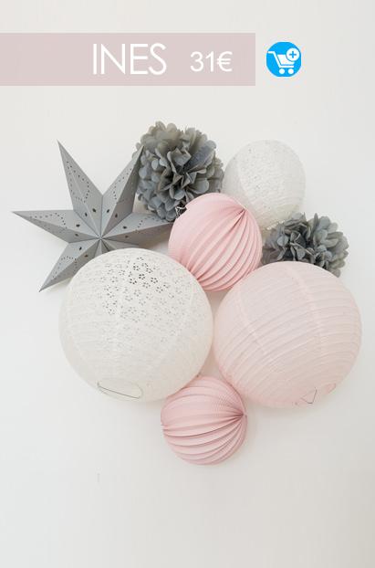 deco rose et gris pour chambre de bebe ou de petite fille - kit de lampions