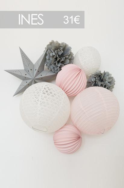 Kit de boules en papier enfants rose et gris