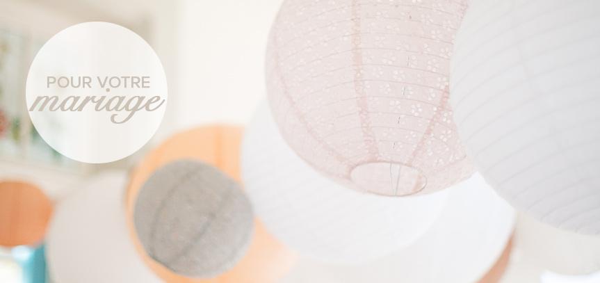 Décoration de mariage avec des lanternes en papier et des lampions