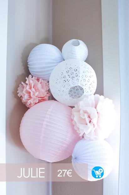decoration chambre de bebe dans les tons rose et blanc avec un kit de lampions sous le lampion