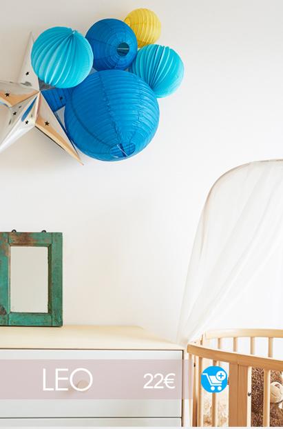 idee deco chambre bebe garcon bleu et jaune kit de lampions sous le lampion