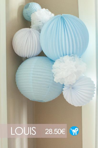 deco murale bleu et blanche pour chambre d'enfant