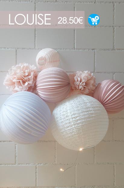 decoration murale rose et blanche pour chambre de petite fille kit de lampions sous le lampion