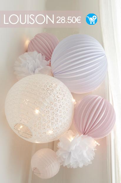 deco murale chambre bebe rose et blanche kit de lampions