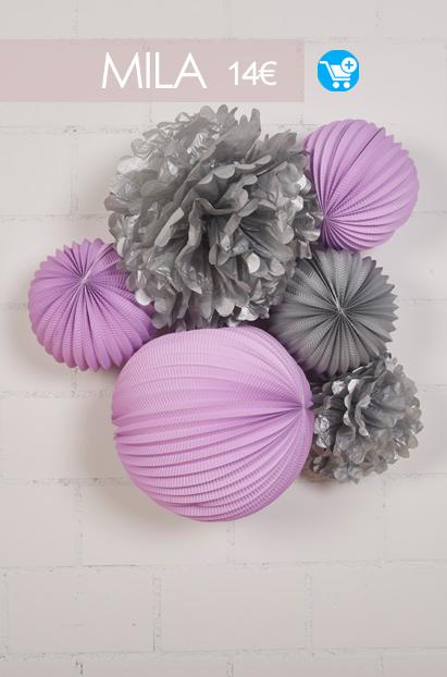 decoration parme et gris pour chambre de petite fille kit de lampions sous le lampion