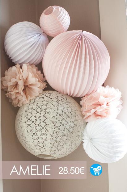 deco chambre bebe rose et blanche kit de lampions sous le lampion
