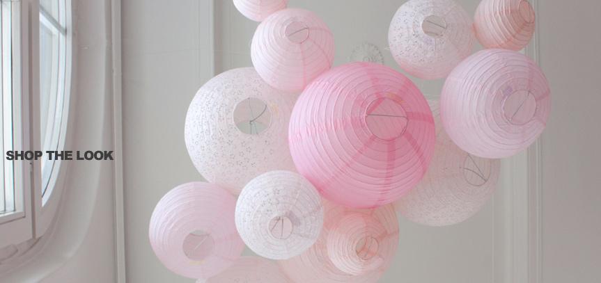 lanternes en papier rose pour déco mariage