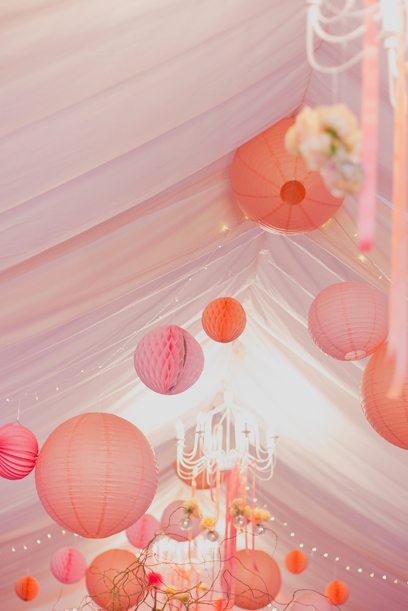 wedding paper lanterns in venue