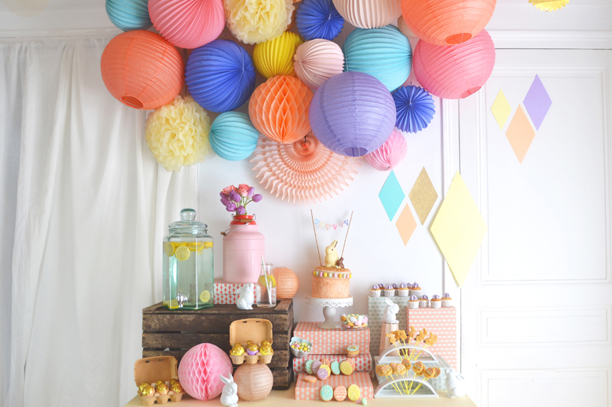 paper lanterns over dessert table