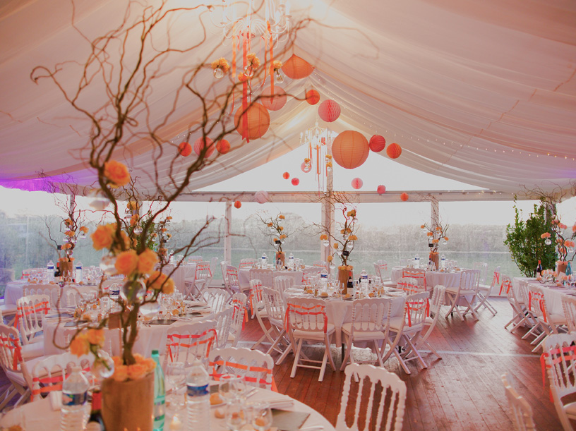 wedding tent decoration with paper lanterns
