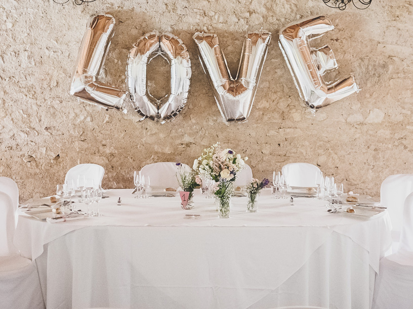 LOVE balloons for wedding decor