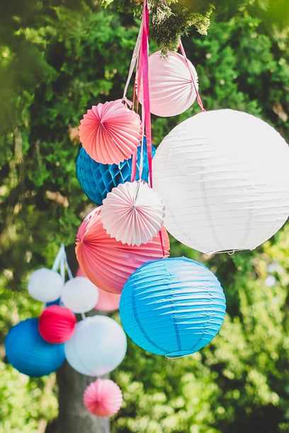 wedding paper lanterns in garden