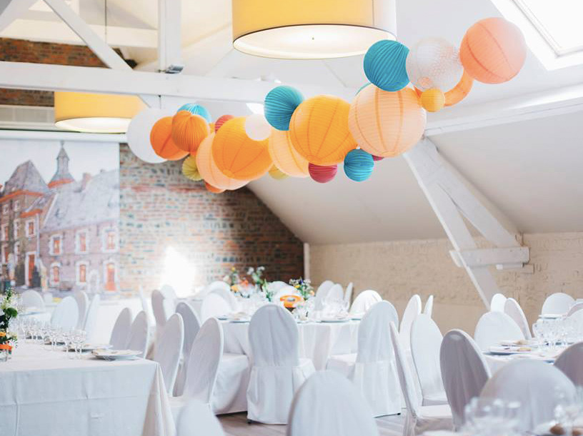 paper lanterns in wedding venue